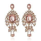 Women's Glamorous Austrian Crystal Chandelier Long Earrings in Rose Gold