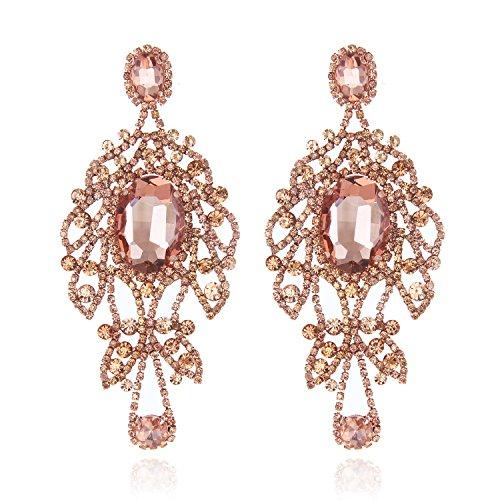 Collection Chandelier Earrings - Women's Glamorous Austrian Crystal Chandelier Long Earrings in Rose Gold