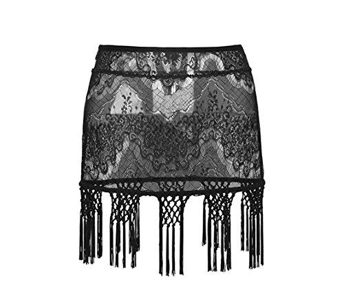 (Punk Rave Crochet Tassel Mini Skirt for Women Side Zip See Through Sexy Lace Comfortable Skirt Black S)