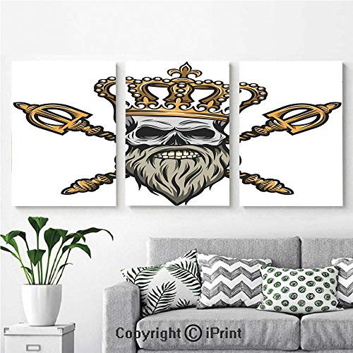 High Definition Printing Ruler Skull Head with Gray Beard Crossed Royal Scepter Cartoon Seemed Image Painting Home Decoration Living Room Bedroom Background,16