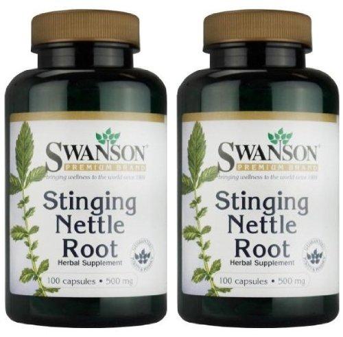 Swanson Premium Brand Stinging Nettle Root 500mg--2 bouteilles de 100 Capsules chaque