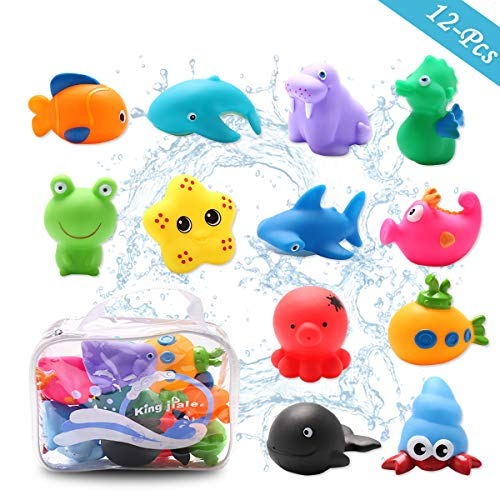(Conthfut Baby Bath Toys Bathtub Toys with 12Pcs Sea Animals Bath Toy Set Beach and Pool Party for Toddlers, Girls and Boys)