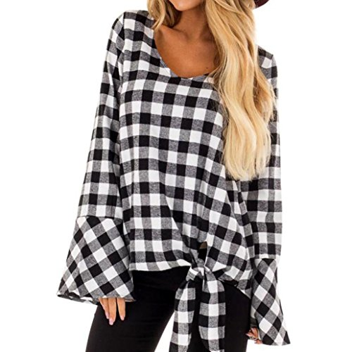 Price comparison product image Women Casual Plaid Shirt Fashion Flare Long Sleeve Tops O-Neck Knotted Blouse (Black, S)