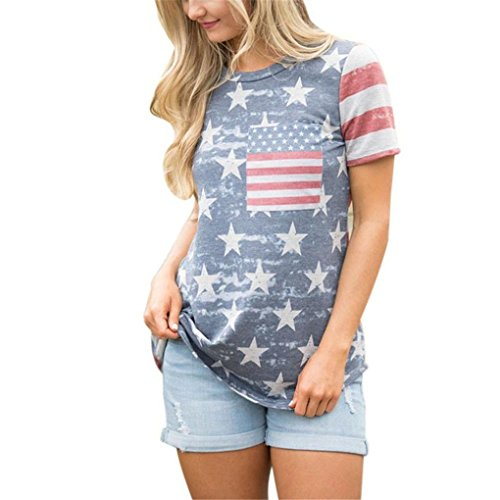 Women Blouse,Haoricu Summer Womens Print American Flag Short Sleeve Shirt Casual Blouse Tops T Shirt (L, Multicolor)