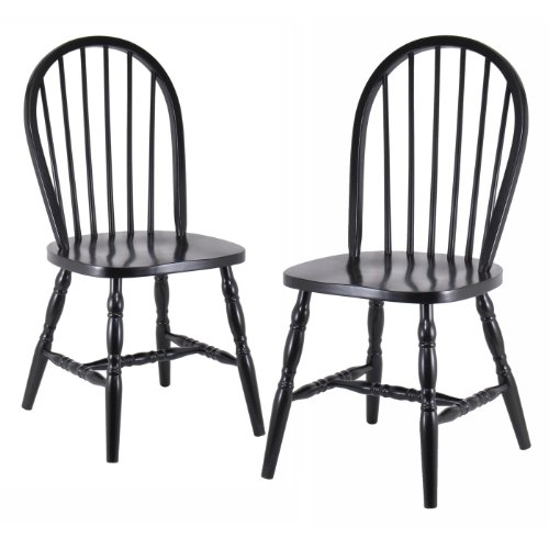 Windsor Design Kitchen Stool (Winsome Wood Assembled 36-Inch Windsor Chairs with Curved legs, Set of 2, Black Finish)