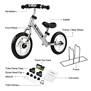 ENKEEO 12 Sport Balance Bike No Pedal Walking Bicycle with Carbon Steel Frame, Adjustable Handlebar and Seat, 110lbs Capacity for Ages 2 to 6 Years Old, Silver