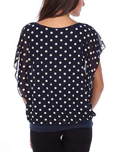 Casual Mode Femme Manches Elgante Chemise Vetement Haut Modle Tops Plier Top Basic 3 Rond Blusen Impression Chauve Confortable Blau Courtes Col Souris Et 5qTnHE8