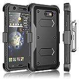 #8: Tekcoo Galaxy J7 Sky Pro Case, Tekcoo Galaxy J7 V/J7V/J7 Perx Holster Clip, [TShell] [Built-in Screen] Locking Secure Swivel Belt Kickstand Phone Cover Full Body Case Cover For Samsung J7 2017 [Black]