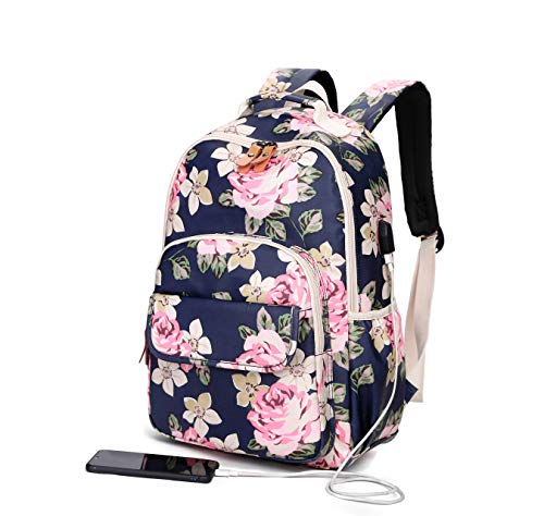 Back Pack for Girls Teens College, Cute High School Book Bags, Notebook Laptop Backpack with USB Port (Blue) ()