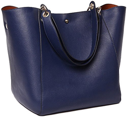 SQLP Fashion purse Women's Waterproof Handbags ladies Leather Shoulder Bag Tote Bags (Navy blue) (Blue Leather Handbags)