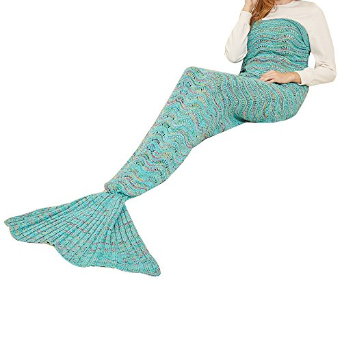 Yeahbeer Handmade Scales Pattern Warm and Soft Mermaid Tail Blanket for Adult (71-Inch-by-32-Inch), Wave green
