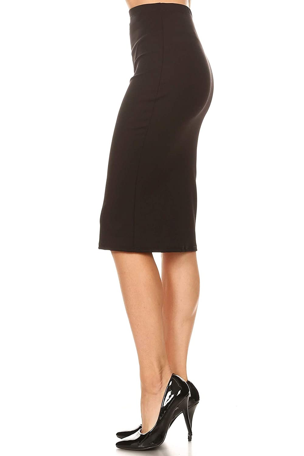 2f80d0d5ac2c Via Jay Women's Solid Basic High Waisted Pencil Skirt at Amazon Women's  Clothing store: