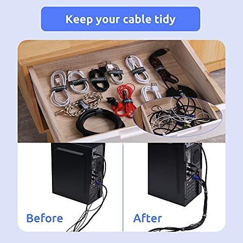 Reusable Cable Ties 40PCS - 6 Inch Hook and Loop Cable Straps - Adjustable Cable Ties Releasable Cord/Tidy Wrap (Black)