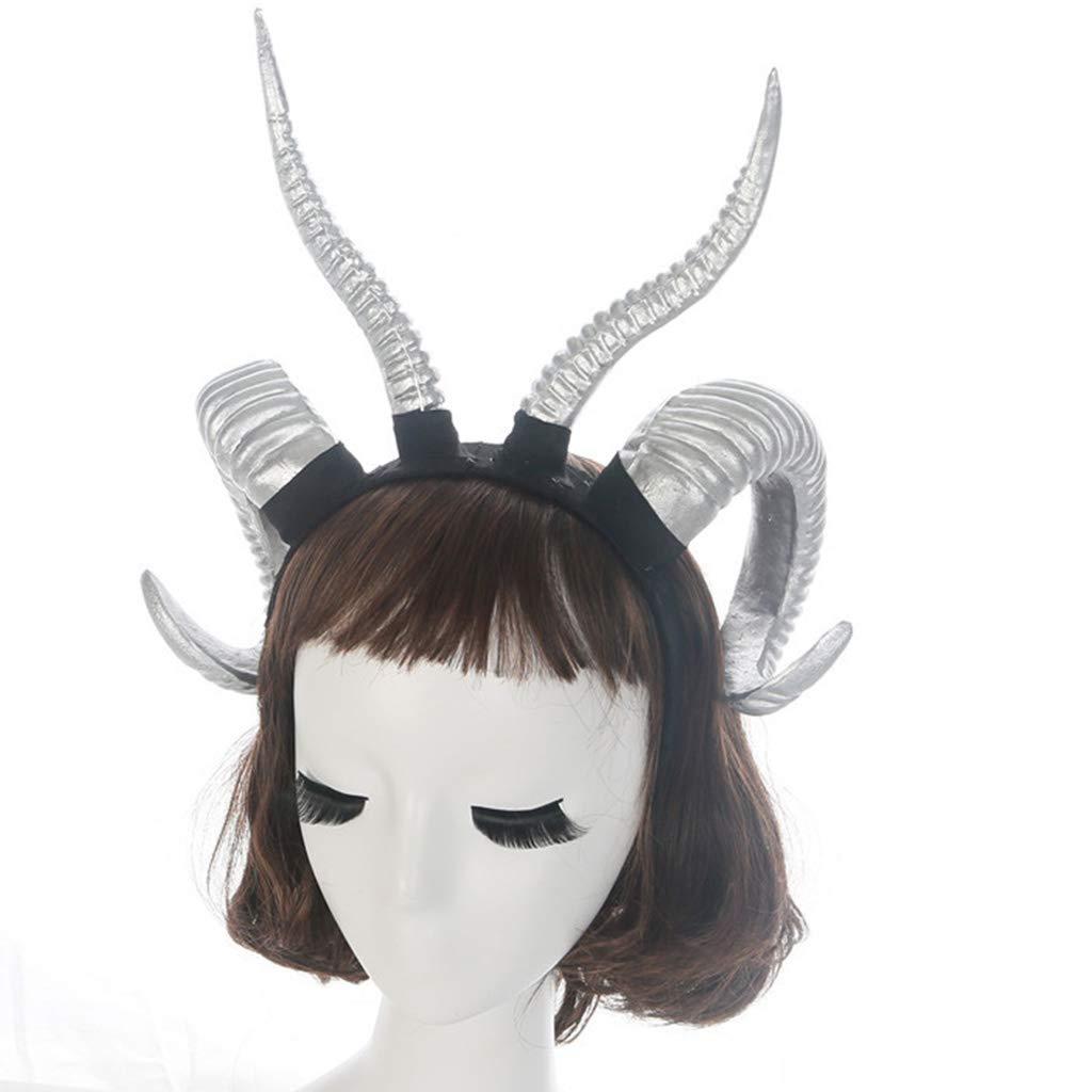 osfanersty Ni/ños Adultos G/ótico Faux Ant/ílope Oveja Cuerno Diadema Bosque Animal Cosplay Disfraz Aro De Pelo Fiesta De Halloween Accesorios De Fotos Sombreros
