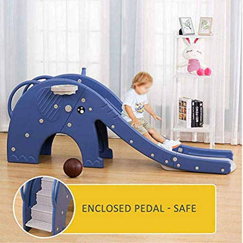 Thole Children's Slide Climber with Basketball Hoop Plastic Play Climbing Ride for Outdoor/Indoor/Garden Play Toy Playground,Blue by Thole (Image #4)