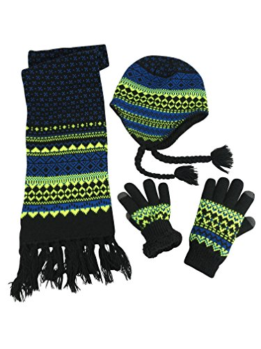 N'Ice Caps Boys Sherpa Lined Knit Hat Scarf Touchscreen Glove 3PC Skier Set (4-7 Years, Black/Neon Green/Multi)
