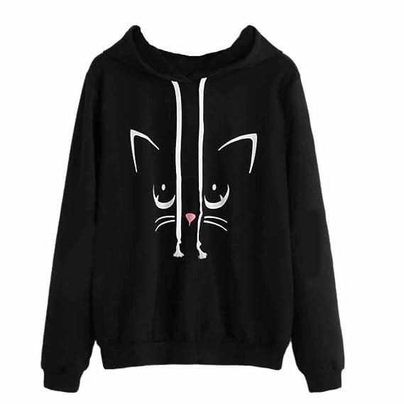 mujer tumblr gato de manga larga sudadera con capucha otoño invierno blusa tops jersey por K