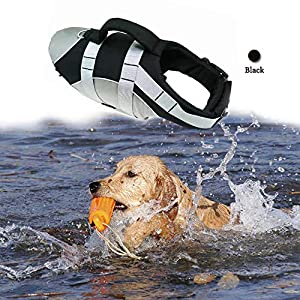 BOCHO Wave Rider's Reflective Dog LifeJacket, Super Buoyancy EVA Lining ,Adjustable Dog Safety Vest 32