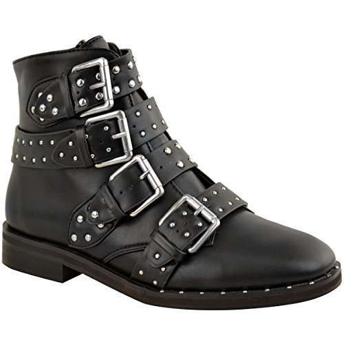 Fashion Thirsty Womens Ladies Studded Flat Ankle Boots Strappy Biker Buckles Amelia New Size Black Faux Leather / Silver Studs