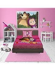 ماشا و الدب طقم شرشف سرير اطفال 2 قطعة  ، مقاس مفرد