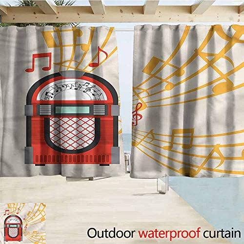 Beihai1Sun Outdoor Waterproof Curtains Retro Vintage Jukebox Musical Notes Rod Pocket Energy Efficient Thermal Insulated W55x39L Inches