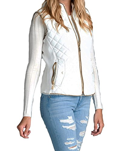 Women's Quilted Vest Jacket Coat (Large White) (Jacket White Womens Quilted)