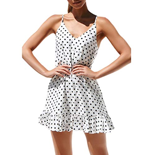 Printed Croc - Women Sexy V-Neck Sleeveless Sling Dot Printed Ruffled Hem Loose Mini Dress