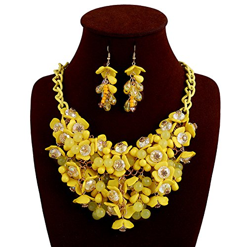 truecharms Fashion Choker Bib Necklace Multicolor Flower Crystal Collier Femme Brand Women Jewelry Statement Necklaces Collar (Yellow with earrings) (Jewelry Yellow Fashion)