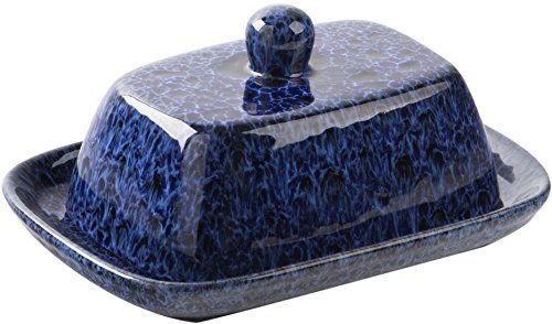 68565 Reactive Blue Ceramic Covered Butter Dish