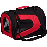 Airline Approved Folding Zippered Sporty Mesh Pet Carrier , Large, Red & Black