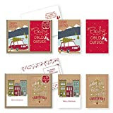 Arts & Crafts : 24 Count Christmas Holiday Boxed Cards Contemporary Kraft