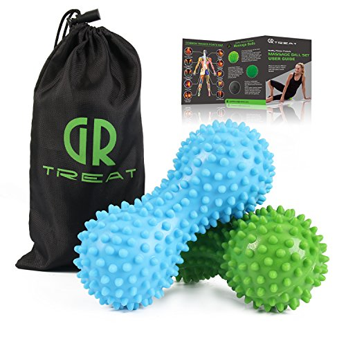Foot Massage Ball Roller - Peanut Massage Ball for Myofascial Release Treatment & Trigger Point Therapy - Great for Plantar Fasciitis, Heel & Foot Arch Pain Relief (Blue & Green)