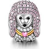 NinaQueen Poodle Queen 925 Sterling Silver Charm Charms Bead Heart Tie Happy Family Animal Charms for Pandöra Bracelets Necklace Jewelry Birthday Anniversary Back to School Gifts For Women Wife