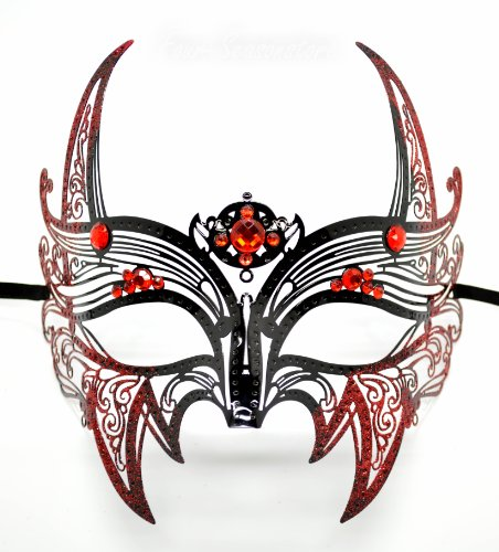 Black Light Dance Costumes (New Wolverine Men's Mask Laser Cut Venetian Halloween Masquerade Mask Costume Extravagant Inspire Design - Black w/ Red Rhinestones & Glitter)