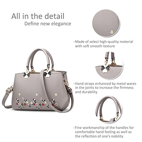Women amp;DORIS Satchel Shoulder Bag Flower Gray Top NICOLE Handbags PU Gray Bag Flowers Handle Crossbody Tote Ladies Leather 5Rd7Wq