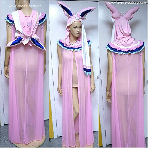 Sylveon Pokemon Ear Cape Robe Cosplay Halloween Rave Costume