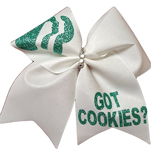 (Cheer bows White Sparkly Got Cookies? Girl Scouts Hair Bow)