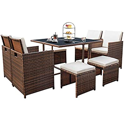 Devoko 9 Pieces Patio Dining Sets Outdoor Space Saving Rattan Chairs with Glass Table Patio Furniture Sets Cushioned Seating and Back Sectional Conversation Set (Brown) - Make sure this fits                by entering your model number. The design of 9 pieces patio dining sets will go well with any garden or backyard arrangement and landscaping. Fashionable rattan and modern design complements any space and the durable construction will make this piece a favorite of yours for summers to come, creating a beautiful and luxurious outdoor living space for you and your guests Devoko 9 pieces patio dining sets including 1 table, 4 single chairs, 4 ottomans and 12 cushions. These zippered cushions fill with thick cotton giving you optimal comfort and relaxation - patio-furniture, dining-sets-patio-funiture, patio - 515dhRcBWwL. SS400  -