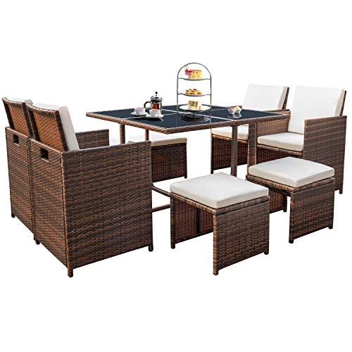 Devoko 9 Pieces Patio Dining Sets Outdoor Space Saving Rattan Chairs with Glass Table Patio Furniture Sets Clearance Cushioned Seating and Back Sectional Conversation Set (Brown)