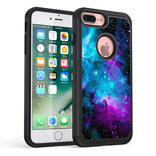 iPhone 7 Plus Case,iPhone 8 Plus Case,Rossy Galaxy Nebula Space Design Shock-Absorption Hybrid Dual Layer Armor Defender Protective Case Cover for iPhone 7 Plus (2016) / iPhone 8 Plus (2017) 5.5 inc