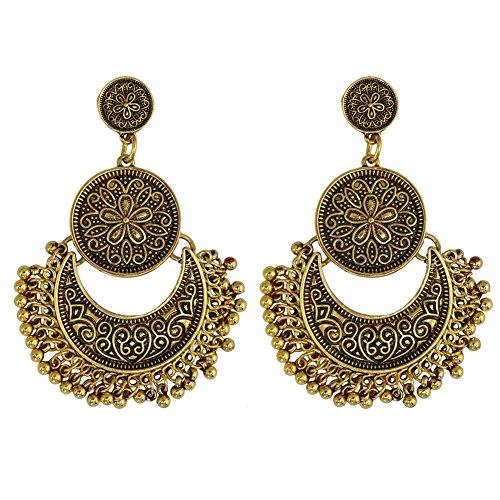 Hoxekle Vintage Bohemian Carved Tassel Earrings For Women Zinc Alloy Nickel Free Antique Dangle Earrings Ancient Gold