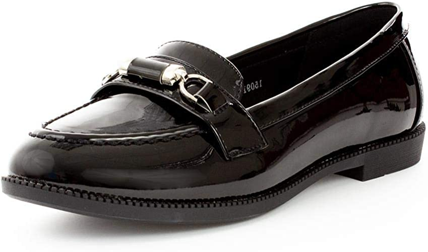 Lilley Womens Patent Loafer Shoe in