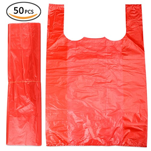Plinrise Handle Garbage Rubbish Trash Wastebasket Bags small Size,Great for Indoor Office,living Room, Bedroon,Car,50 Counts/Rolls,Size: 16 x 24 Inch, (Red 3 Gallon) (Super X-heavy Game Loads)