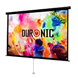Duronic Projector Screen MPS100/169 Manual Pull Down HD Projection Screen For | School | Theatre | Cinema | Home Projector Screen - 100-16:9 Widescreen- Matte White Screen - Wall Ceiling mountable