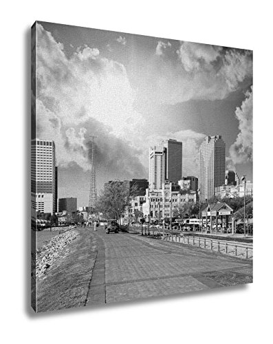 Ashley Canvas, New Orleans Skyline With Beautiful Riverwalk At Sunset, Black and White, 16x16, - New Orleans La Riverwalk