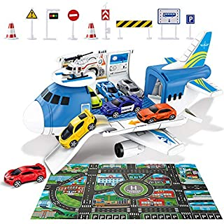 ZMZS Airplane Toys for Boys, Kids Transport Cargo Plane for 2 3 4 5 Year Old, 3In1 Play Model Airplane with Cars 6 Vehicle 1 Helicopter 9 Road Signs 1 Play Map Mat