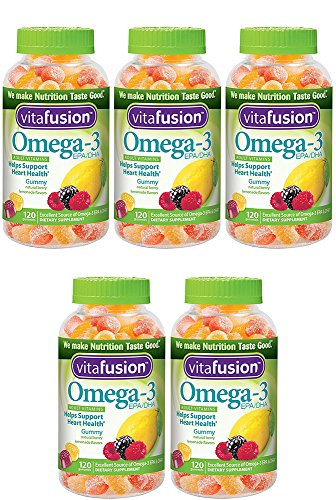 Vitafusion Omega-3 Gummies, 120 Count (5 Bottles) by Vitafusion