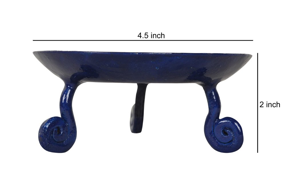 Lalhaveli Small Pillar Candle Holder in Blue Wrought Iron 4.5 Tall 2 Pillar Candle Plate
