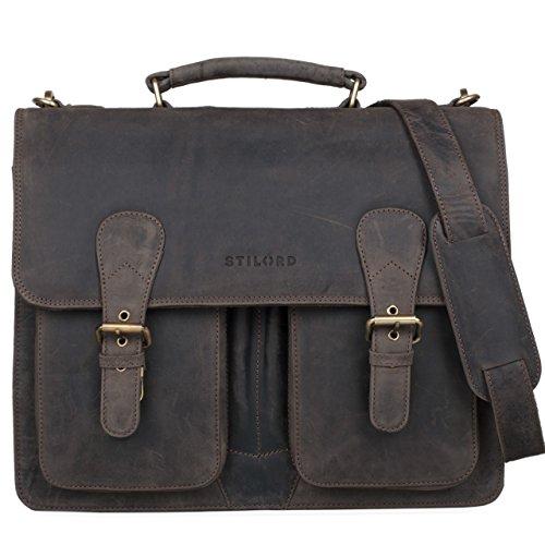 STILORD Karl Aktentasche Herren Lehrertasche Bürotasche Laptoptasche Umhängetasche XL Businesstasche Vintage groß aus echtem Leder , Farbe:kara - rot dunkel - braun