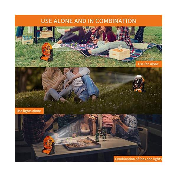 515diUSAfSL Camping Ventilator Lureshine Tischventilator mit Led Licht Batterie USB Ventilator Leise Turbo ventilator Campinglüfter…
